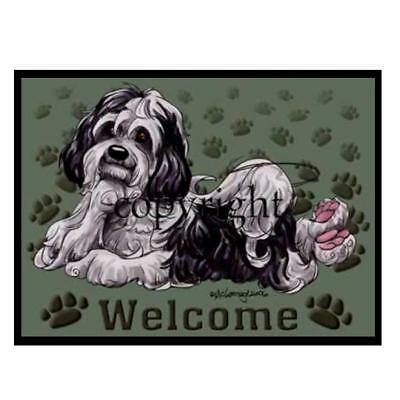 Havanese Dog Breed Paws Cartoon Artist Welcome Doormat Floor Door Mat Rug