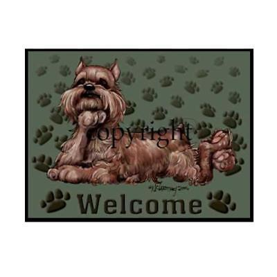 Brussels Griffon Dog Paws Cartoon Artist Welcome Doormat Floor Door Mat Rug