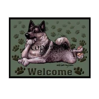 Norwegian Elkhound Dog Paws Cartoon Artist Welcome Doormat Floor Door Mat Rug