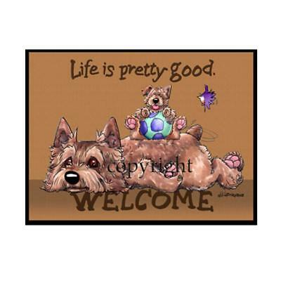 Norwich Terrier Dog Breed Life Is Good Cartoon Artist Doormat Floor Door Mat Rug