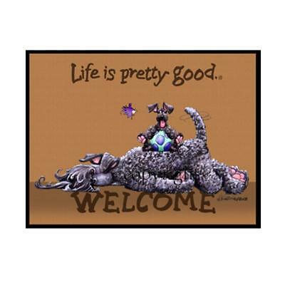 Kerry Blue Terrier Dog Life Is Good Cartoon Artist Doormat Floor Door Mat Rug