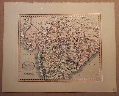 JOHN CARY MAP OF CENTRAL HINDOOSTAN - INDIA 1813 FROM HIS New Elementary Atlas