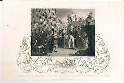 Engraving Admiral Nelson Receiving Spanish Admirals Sword On Board The San Jose