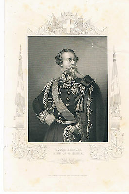 Engraving Victor Emanuel King Of Sardinia London Printing And Publishing Co