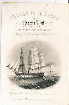 Engraving Frontpiece England's Battles By Sea And Land By Lieut:col:williams