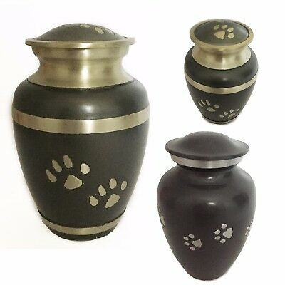 Paw Print Pet Urn for Dog, Cat Ashes - Cremation Memorial Silver Gold Keepsake