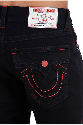 True Religion Men's Straight Big T Jeans w/ Flaps in Night Stand Black