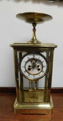 -intresting large french 4 glass libary clock with tazza mount c1900s