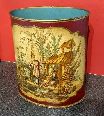 Posh Victorian Chinoiserie Wastepaper Bin/Basket Country House Style Vintage