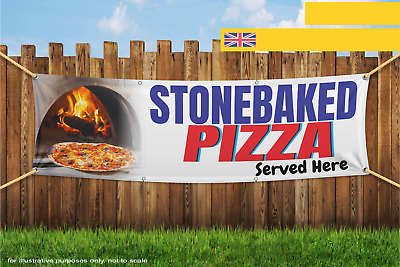 Stonebaked Pizza Served Here Heavy Duty PVC Banner Sign 3169