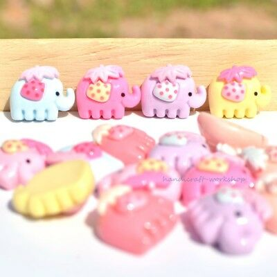 16Pcs Mixed Elephant Resin Flatback Buttons Hairband Crafts Accessories Ornament