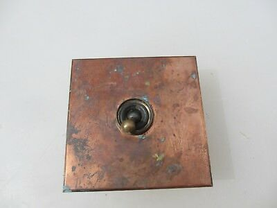 Vintage Light Switch Square Plate Art Deco Antique Old Copper Plated Brass