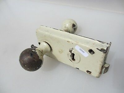 Antique Brass & Iron Door Lock Edwardian Vintage Old NO KEY