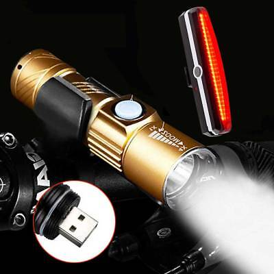 MTB Bike Head Front Light Rear Tail Bicycle Cycle LED Lamp Set USB Rechargeable