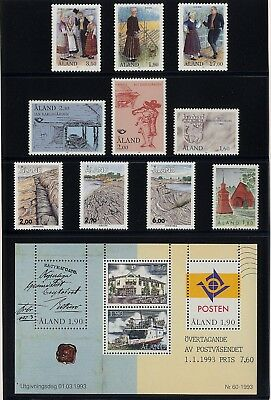 al14 Aland MNH stamps official year set 1993