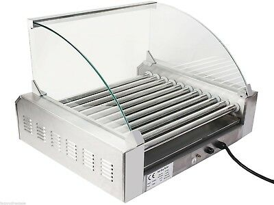 Commercial 30 Hot Dog Maker 11-Roller Stainless Electric Sausage Grill Cooker US