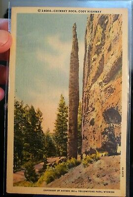 Postcard vintage 24084 chimney Rock, cody highway, Yellowstone national Park