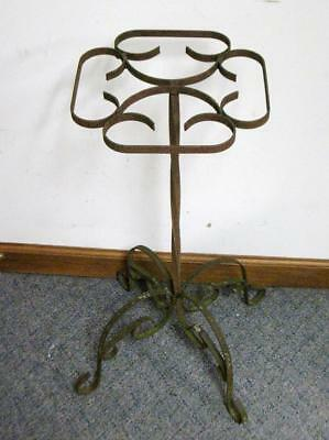 Vintage Wrought Iron Plant Stand Antique Fern Architectural Scroll Shabby Rust