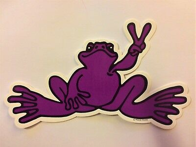"Peace Frogs Purple Frog Sticker - 6"" x 3""- High Quality Vinyl - Made in USA"