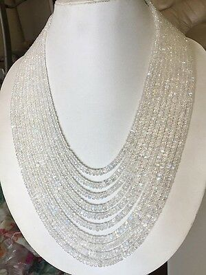 AAA Natural Rainbow Moonstone Multi Strand Necklace 10 Strand 4-5mm Beads GDS781