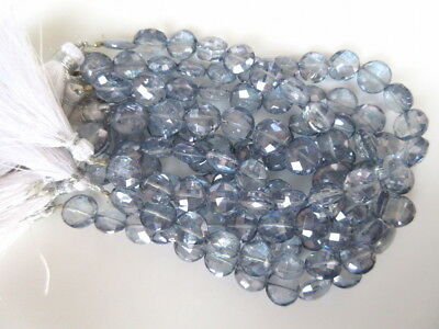 """5x9""""Natural Quartz Crystal Faceted Coin Iolite Color Coated Crystal Beads-GDS930"""