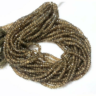 50 Strands Coated Smoky Quartz Micro Faceted Rondelles 4mm Beads 14 Inches Each