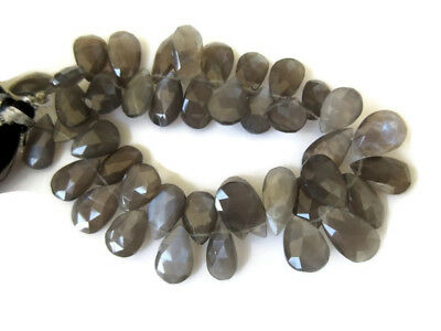 4 Inches AAA Grey Moonstone Pear Shaped Faceted Briolettes 14mm To 17mm GDS946