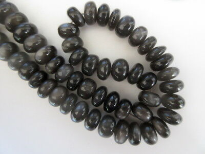 14 Inch 13mm to 14mm Natural AAA Grey Moonstone Smooth Rondelle Beads GDS999