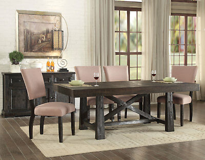 BREDA 7 piece Country Cottage Brown Oak Dining Room Set Rectangular Table Chairs