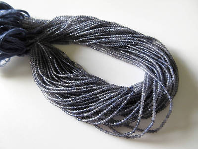 5 Strands 3mm Natural Iolite Shaded Faceted Rondelles Beads 13 Inches  GDS515/1