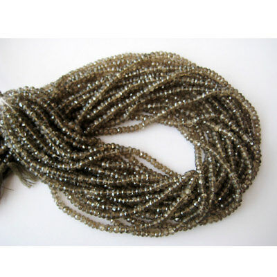50 Strands Brown Hydro Quartz Micro Faceted Rondelles 4mm Beads 14 Inches Each