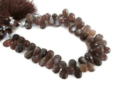 Natural Chocolate Brown Moonstone Faceted Tear Drop Briolette 8 Inch 10mm GDS962
