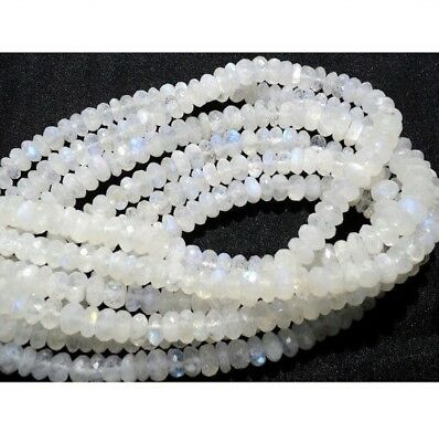 Rainbow Moonstone Faceted Rondelle Beads 8mm Beads 7 Inch Half Strand