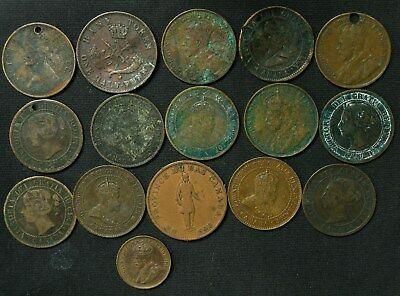 Lot of 16 Canada Half Penny Bank Token, Large Cent, Cent 1837-1928