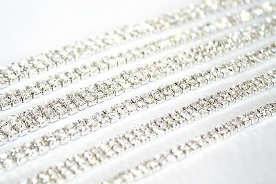 1M - SS16 Rhinestone Chain Trim Diamante Crystal Silver Cake Decorations Toppers