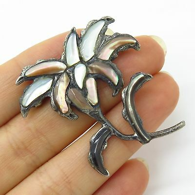 Vtg MMA 925 Sterling Silver White & Brown Mother-Of-Pearl Floral Pin Brooch