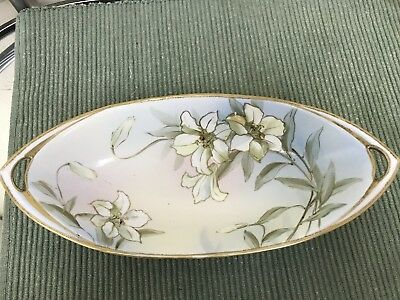 "Vintage Nippon Hand-Painted Fine China Oval Celery/Serving Dish 13"" Long"
