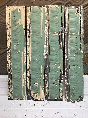 """4pc Lot of 24"""" by 4.5"""" Antique Ceiling Tin Vintage Reclaimed Salvage Art Craft"""