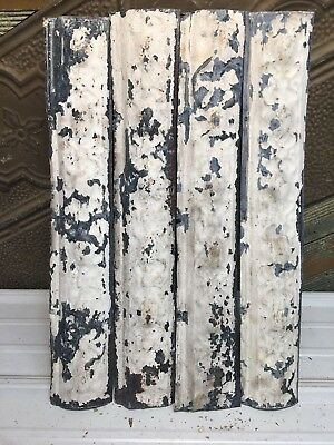 """4pc Lot of 24"""" by 4"""" Antique Ceiling Tin Vintage Reclaimed Salvage Art Craft"""