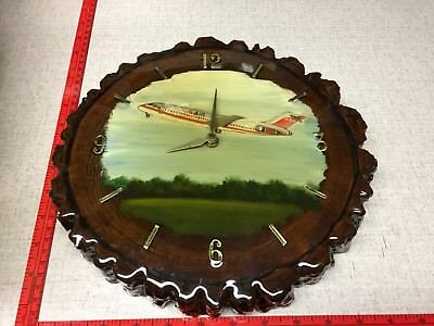 RARE VINTAGE USAIR WALL CLOCK 1970's 1980's US AIRWAYS AIRLINES WOODEN AIRPLANE