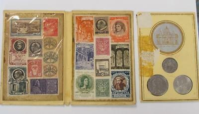 Uncirculated 1942 And 1949 Vatican City Coins And Stamps In Souveneir Holder