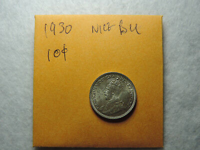 1930 10 Cent Coin Canada George V Ten Cents .800 Silver BU grade