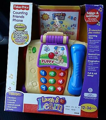 New in Box Fisher Price Laugh & Learn Counting Friends Phone Pull Toy 2009 HTF