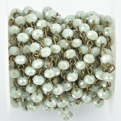 1yd MINT GREEN Crystal Rondelle Rosary Chain, bronze, 6mm beads fch0403a