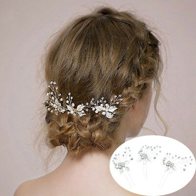 ITS- Rhinestone Leaves Faux Pearl Hair Clip Pin Wedding Bridal Pageant Headpiece