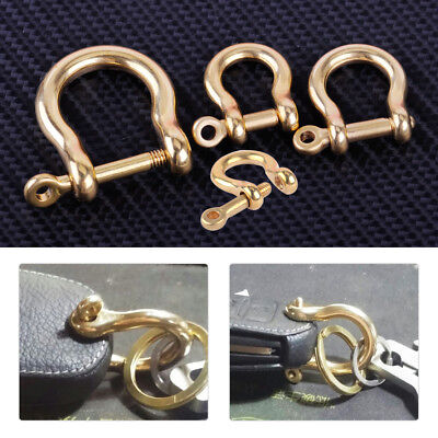 2x Solid Brass Bow Shackle Joint Connect D Ring Key Chain Hook Fastener Clip DIY