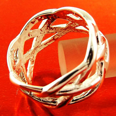 Ring Genuine Real 925 Sterling Silver S/f Solid Ladies Celtic Design Size 8