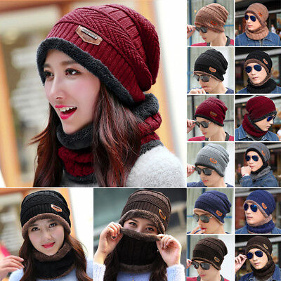 Women Men Winter Thermal Crochet Knit Baggy Beanie Wool Skull Hat Ski Cap Scarf