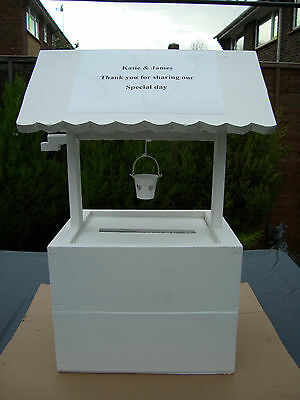 Solid wooden wedding wishing well post box for sale free postage in uk..