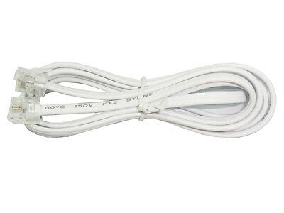 1m White Telephone Line Cord RJ12 Modular Modem Phone Extension Data Cable Plug